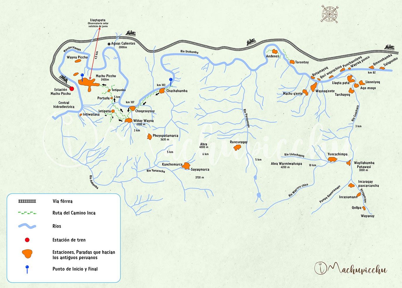 Ruta del Camino Inca Corto